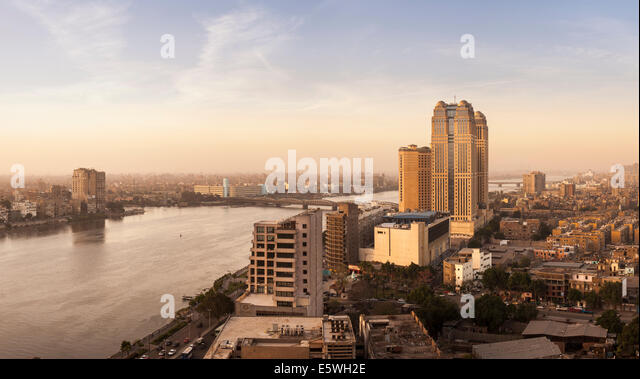 Cairo, Egypt - with Fairmont Nile City Hotel building by the River Nile in the late afternoon - Stock Image