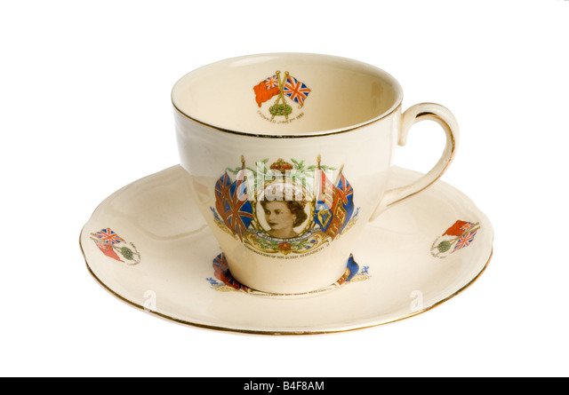 tea cup with picture of the queen - Stock-Bilder