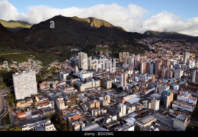 Panoramic view of the center of Bogotá and the South. - Stock Image