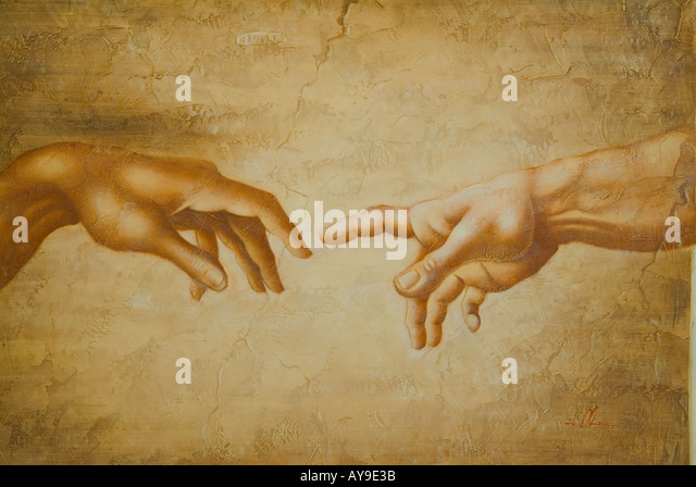 Creation of Adam Hand of God Sistine Chapel Vatican Italy 1510 fresco Michelangelo Buonarroti - Stock-Bilder