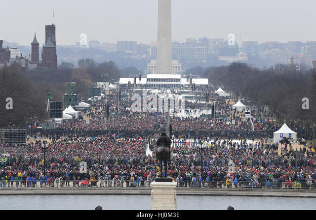 Spectators fill at National Mall to witness the inauguration of President Donald Trump on January 20, 2017 in Washington, - Stock Image