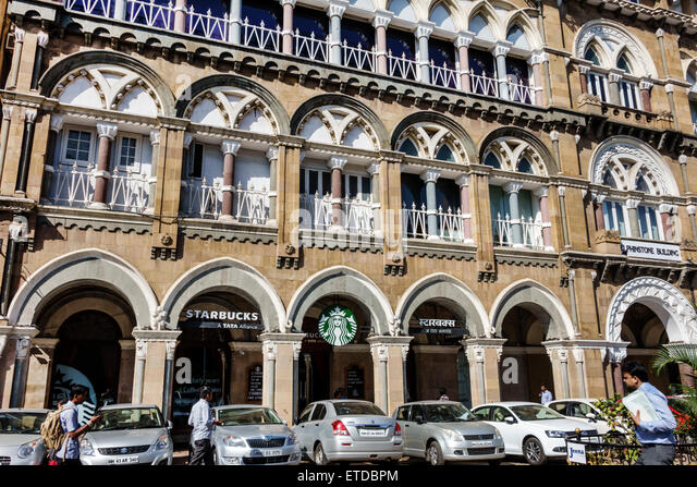 India Indian Asian Mumbai Fort Mumbai Kala Ghoda Veer Nariman Road Starbucks Coffee cafe outside exterior - Stock Image