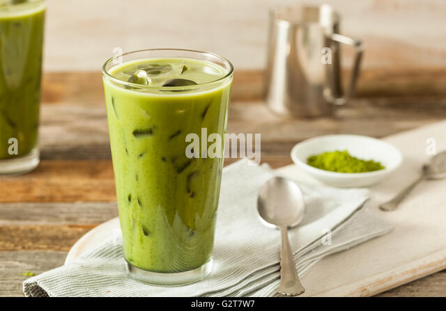 Homemade Iced Matcha Latte Tea with Milk - Stock Image