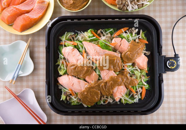 Chanchan-yaki on Hot Plate - Stock-Bilder
