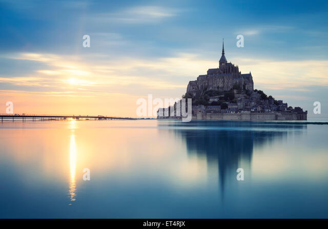 Mont-Saint-Michel at sunset, France, Europe. - Stock-Bilder