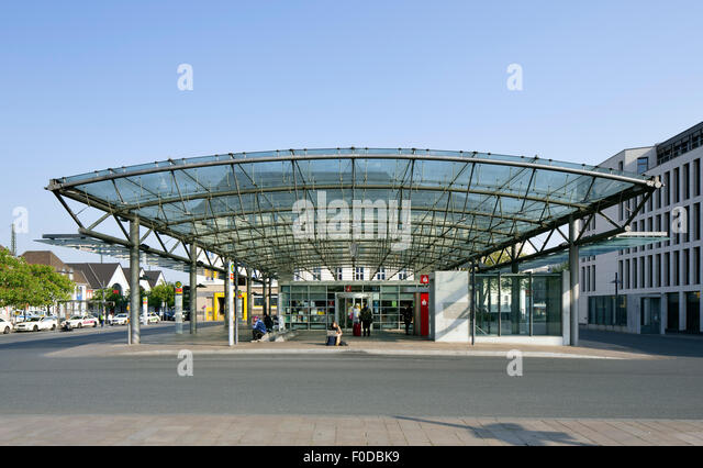 Central Bus Station in front of the main train station, Hamm, Westphalia, North Rhine-Westphalia, Germany - Stock Image