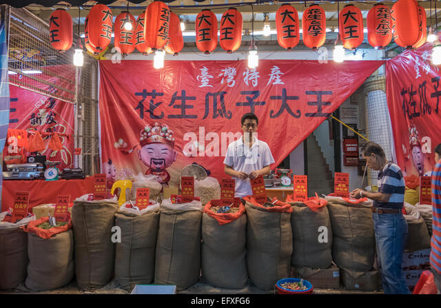 Singapore, Chinatown nut seller - Stock-Bilder