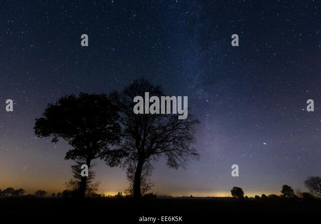 Star sprangled Sky with milky way galaxy,  Sternenhimmel, Milchstrasse - Stock Image