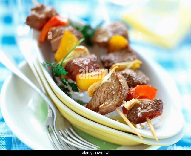 Beef kebabs - Stock Image