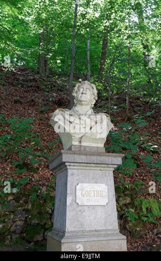 Goethe monument on the Goethe hiking trail, Goethova stezka, Karlovy Vary, Karlovy Vary Region, Bohemia, Czech Republic - Stock-Bilder