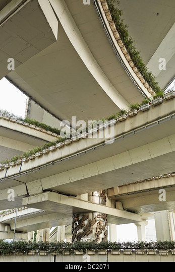 Low angle view of flyover, Shanghai, China - Stock Image