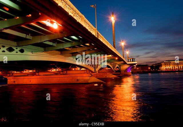 Blagoveshchensky Bridge, Saint-Petersburg, Russia, White Night, Neva river - Stock Image