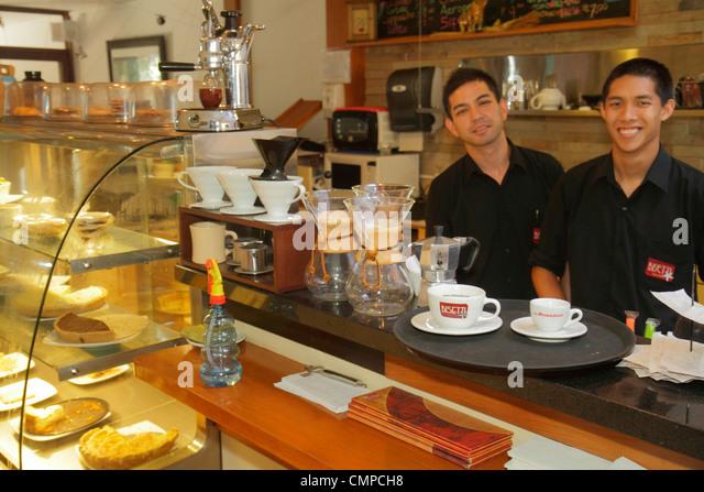 Lima Peru Barranco Avenida D'Osma Tostaduria Bisetti Cafe coffee roaster retailer roastery coffee shop Artisanal - Stock Image