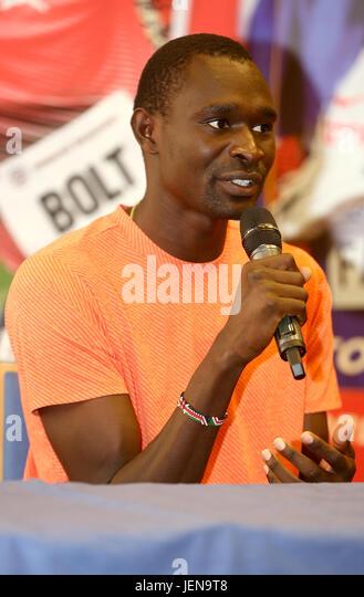 Ostrava, Czech Republic. 27th June, 2017. Athlete David Rudisha (Kenya) attends the press conference prior to the - Stock-Bilder
