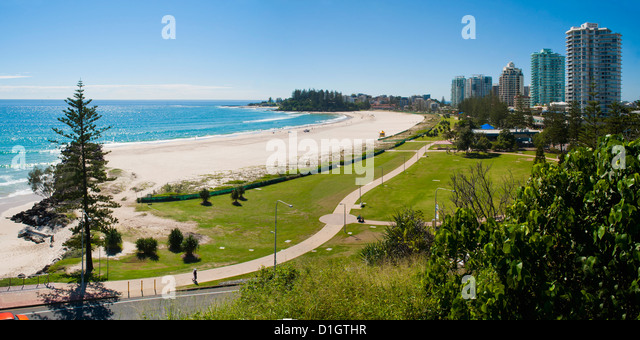 Coolangatta Beach and town panoramic, Gold Coast, Queensland, Australia, Pacifc - Stock Image