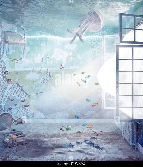 underwater flooded interior. 3d creative concept - Stock-Bilder