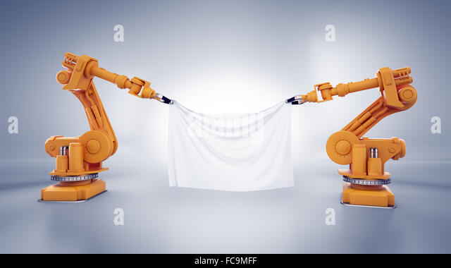 Two industrial robots holding a banner made out of a piece of fabric - Stock-Bilder