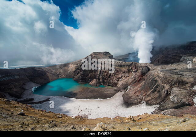 Steaming fumarole on the Gorely volcano, Kamchatka, Russia, Eurasia - Stock Image