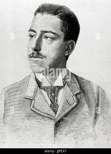 Prince Vittorio Emanuele of Savoy-Aosta, Count of Turin (1870-1946). Son of the King of Spain Amadeo of Savoy. Engraving - Stock Image