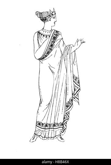 Greece, Greek lady with reversed Himation or Peplos, History of fashion, costume story - Stock Image