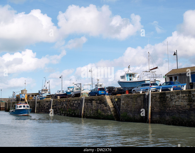 Inside Newquay Harbour, Cornwall, UK - Stock Image