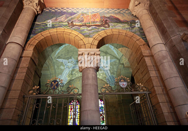 St Annes Belfast Cathedral Interior,ship on archway gate - Stock Image