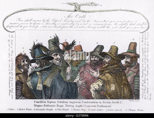 The conspirators  (Guy Fawkes is number 6)        Date: 1605 - Stock Image