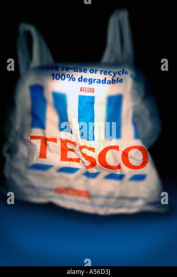 Tesco shopping carrier bag - Stock Image