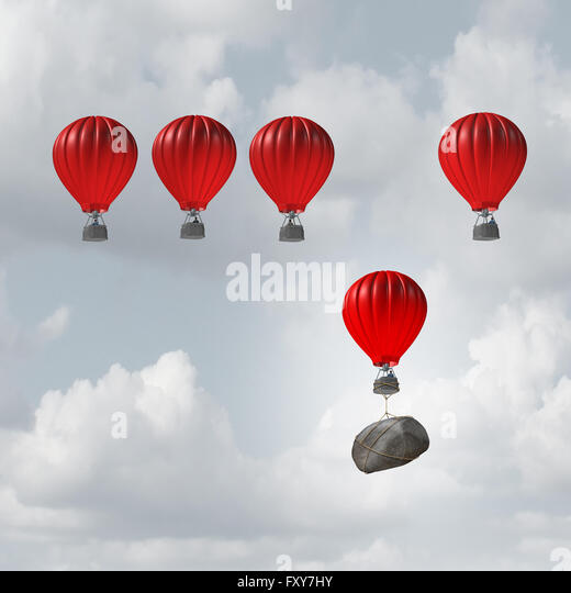 Competitive struggle and business disadvantage or disability concept as a group of hot air balloons racing to the - Stock-Bilder