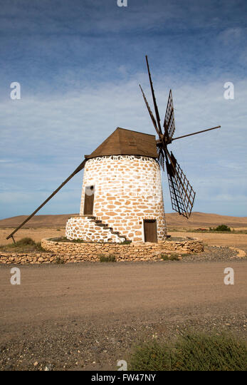Traditional windmill at Tefia, Fuerteventura, Canary Islands, Spain - Stock-Bilder