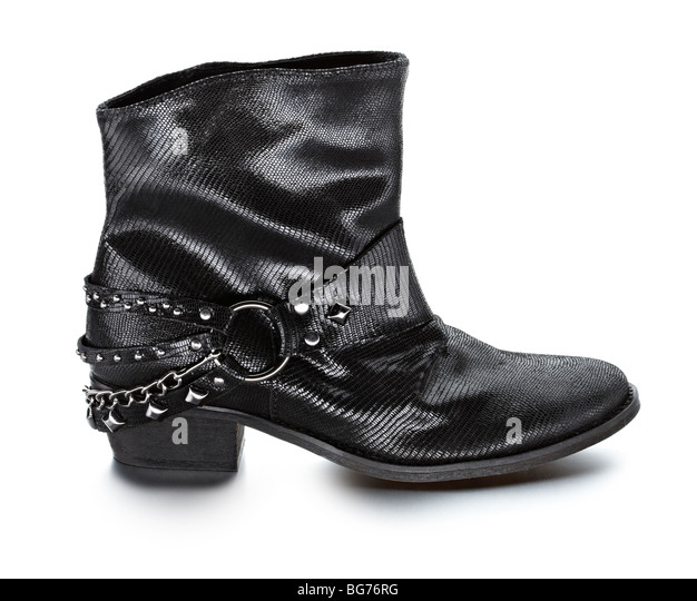 ladies biker style ankle boot - Stock Image
