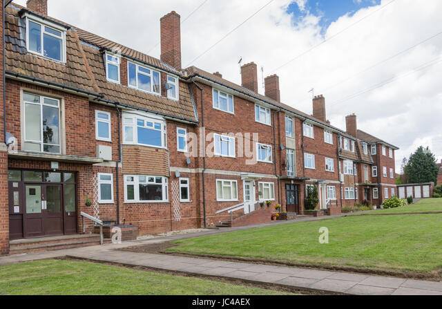 Affordable rented maisonettes flats apartments houses West Midlands UK - Stock Image