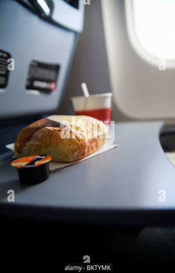 Meal on airplane - Stock-Bilder