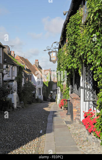 Early on a summer morning deserted Mermaid Street Rye East Sussex UK - Stock Image