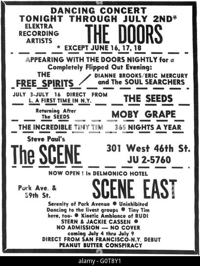 Print ad for a Doors concert at nightclub Steve Paul's the Scene in New York City, circa 1967. Other acts include - Stock Image