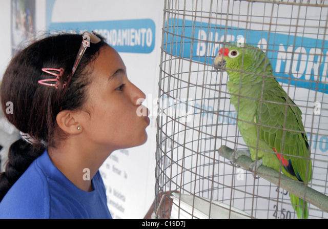 Panama City Panama Amador Bikes & More bicycle rental for rent business Hispanic girl teen customer cage parrot - Stock Image