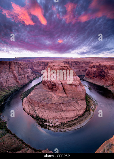 Sunset at Horeshoe Bend on the Colorado River. Arizona - Stock Image