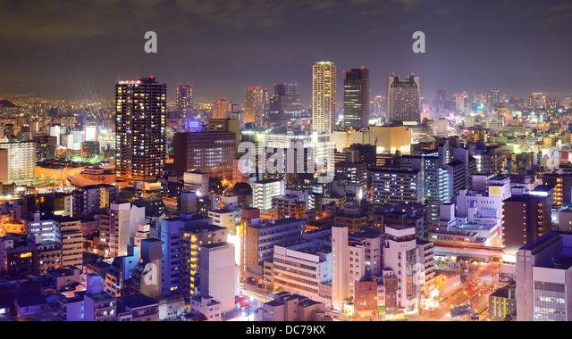 Osaka, Japan nighttime skyline. - Stock Image