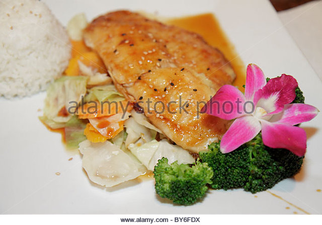 Boca Raton Florida Thai restaurant plate food - Stock Image