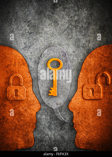 knowledge digital illustration concept with human silhouette padlocks  and copy space - Stock-Bilder