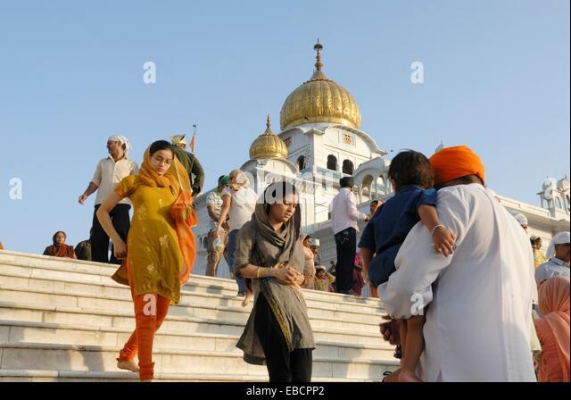 Gurudwara Bangla Sahib the most prominent Sikh gurdwara or Sikh house of worship in Delhi India Asia - Stock Image