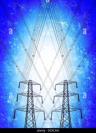 Pair of electricity pylons - Stock-Bilder
