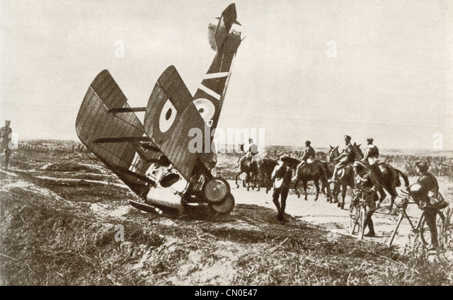 A crashed aeroplane near Cherisy, France during World War One. - Stock Image