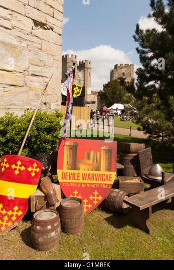 The entrance to the Rampart walk, Warwick Castle, Warwickshire UK, Concept - medieval England - Stock Image