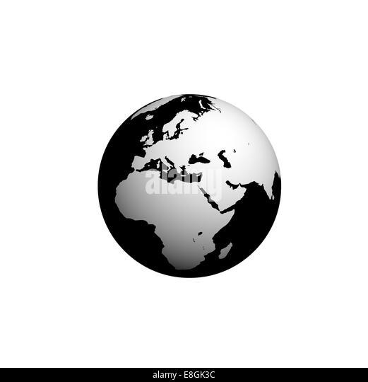 Digitally generated image of planet earth, Black and white globe - Stock-Bilder