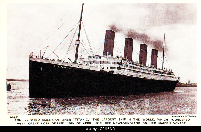 The Ill-Fated Titanic, 1912 postcard issued to mark the maritime disaster when the liner hit an Iceberg off Newfoundland - Stock-Bilder