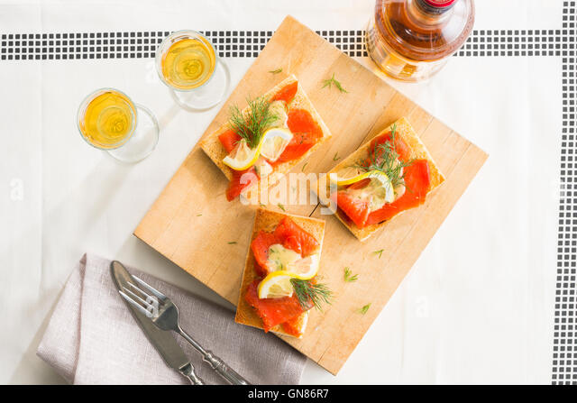 SALMON OPEN FACE SANDWICHES - Stock Image