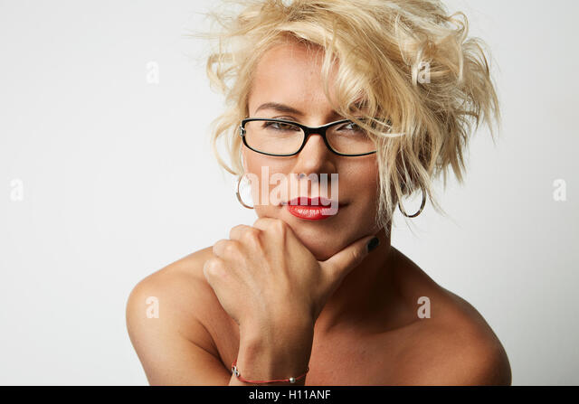 Portrait Young Blonde Head Female Perfect Skin Thinking Something Interesting Copy Space Wall Your Business Information - Stock Image