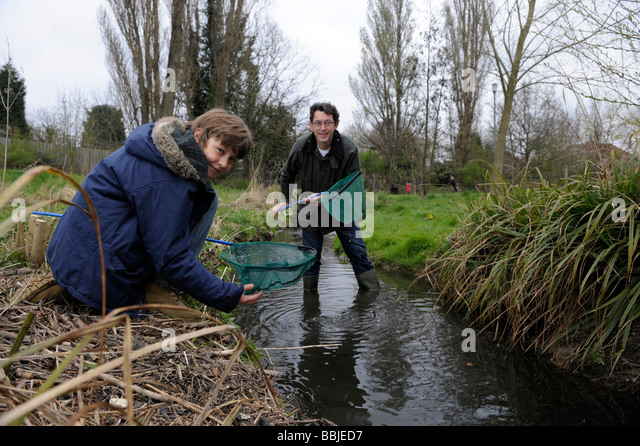 father and son fishing - Stock Image