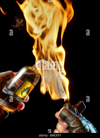 Molotov cocktail ready for action - Stock Image